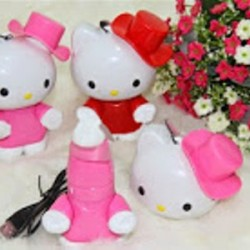 KIpas hello kitty, Fan hello kitty topi rechargeable