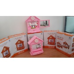 Kotak musik rumah kemudi hello kitty photo frame mirror jewelry box, hk see saw jungkat jungkit