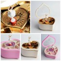 kotak musik hati love balerina rotate shape heart jewelry box medium