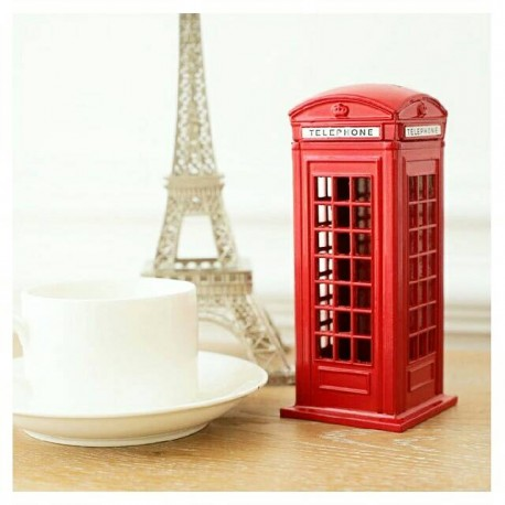 kado pajangan hiasan cafe Red telephone box london souvenir vintage