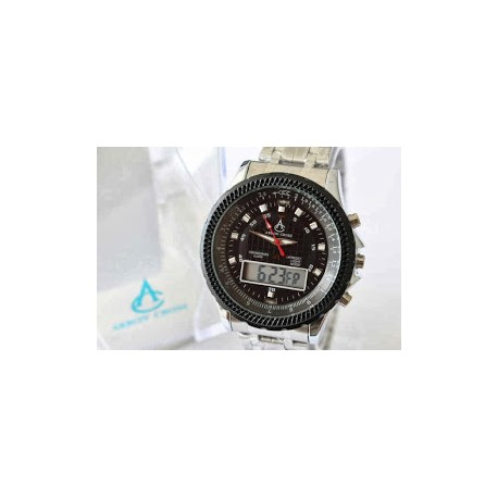 Arron Cross watch bulat hitam, kotak hitam, hitam putih